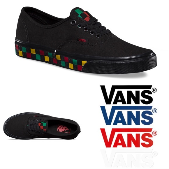 Vans Checker Tape Authentic Black   Rasta Shoes 642b0e2c6